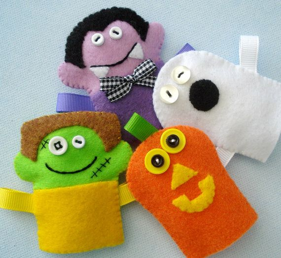 Halloween Felt Finger Puppets Sewing Pattern by preciouspatterns