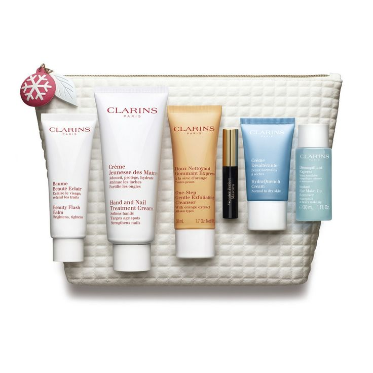 Clarins Relaxing Weekend Set.   Set contains 50ml Beauty Flash Balm, 100ml Hand Cream, 50ml One Step Gentle Exfoliating Cleanser, 3ml Wonder Perfect Mascara, 15ml Hydraquench Cream and 30ml Instant Eye Make Up Remover