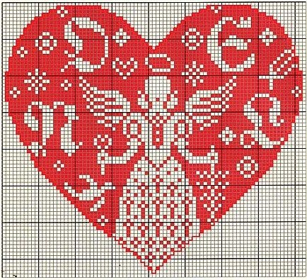 Angel in a heart.  Cross stitch.  Repinned by www.mygrowingtraditions.com