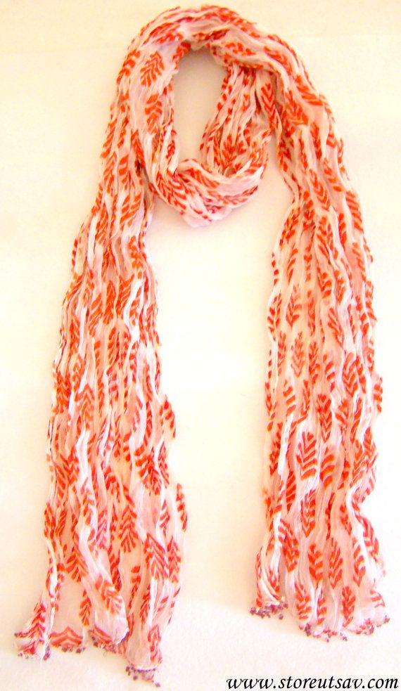 Scarf Stole Crepe Chiffon White with Orange Leaf Design Hand Block Printed-Indian Handicraft-Handmade Scarves from Rajasthan in West India