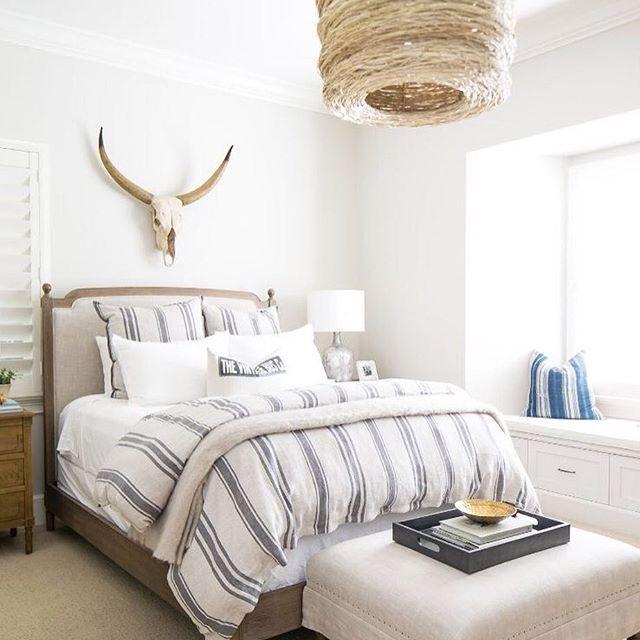Natural textures for this coastal bedroom #neutral #bed #homedecor #timeless #linen #stripes #bedding #residential #custombuild #newportbeach #designworkshome :@ryangarvin