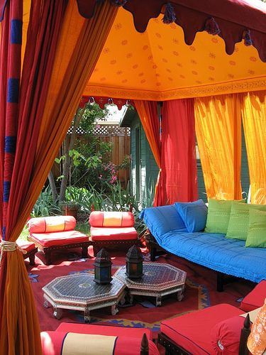 Would kill to have this in my backyard for relaxing on weekends and in the evenings.  So cheery and relaxing.: Colour, Spaces, Favorite Places, Life, Beautiful Colors, Moorish Tent, Amazing Colors, Patio, Bright Colors