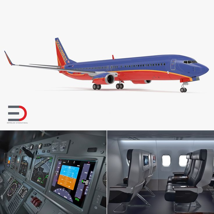 3D Boeing 737-900 with Interior Southwest Airlines