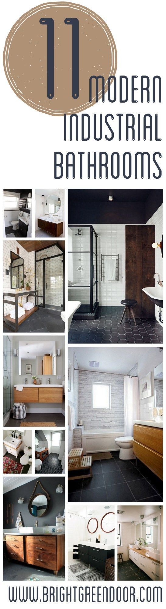 Love the bottom left photo for master bath colors......Modern Industrial Black Wood and White Bathrooms www.BrightGreenDoor.com