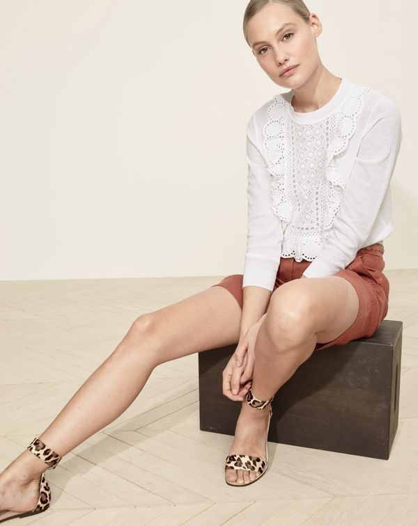 J.Crew women's eyelet sweater in summerweight cotton, linen bermuda short and ankle-strap sandals in calf hair.