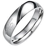 #9: Flongo ステンレス リング 指輪 メンズ Love & ハート モチーフ 刻印入 ブラック シルバー(銀)-「23」