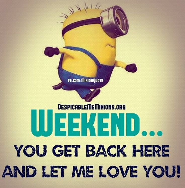 Funny Minion Weekend. 。◕‿◕。 See my Despicable Me Minions pins https://www.pinterest.com/search/my_pins/?q=minions