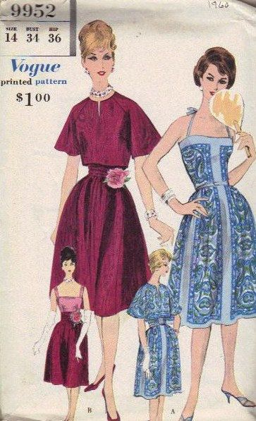 1960 Vogue Sewing Pattern Day Evening Dress by AdeleBeeAnnPatterns, $33.00