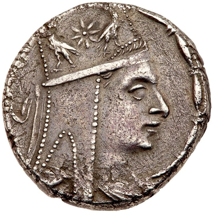 Artaxiad Kingdom. Tigranes II 'the Great'. Silver Tetradrachm (15.03 g), 95-56 BC Tigranocerta, ca. 80-68 BC. Diademed and draped bust of Tigranes II right, wearing tiara decorated with star between two eagles. BAΣIΛEΩ-Σ TIΓPANOY, Tyche seated right on rock, holding laurel branch; below, river-god Orontes swimming right; in inner right field, monogram; on rock below, monogram; all within wreath. SCADA grp. 3, dies A32/P2b = Callatay dies D17-R2b (this coin); ACCP 71.2; Bedoukian 35-41…