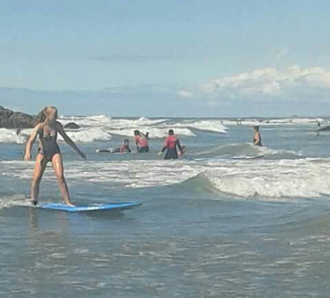 Heather Ineson surfing