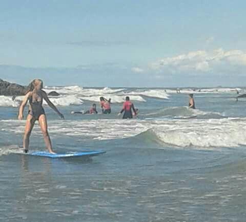 Heather Ineson surfing