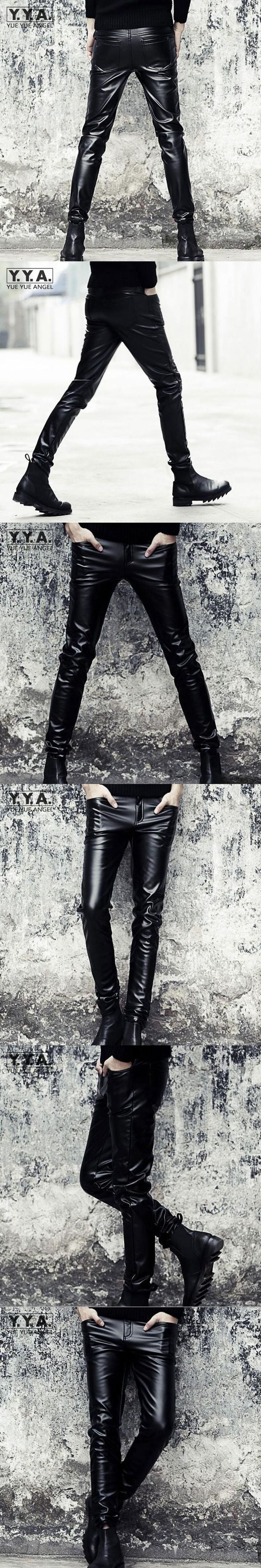 Punk Mens Slim Fit Trousers Motorcycle Skinny Faux Leather Pencil Pants Fashion Black Full Length PU Leather Pants Free Shipping