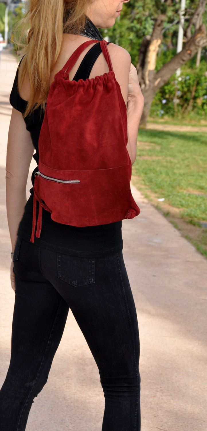 Suede leather pouch bag, backpack in red by byCACHE on Etsy