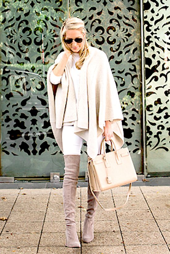 fall / winter - street style - street chic style - casual outfits  - fall outfits - winter outfits - neutral tone outfit - cream cape + white long sleeve tee + white skinny jeans + nude handbag + taupe suede over the knee boots + black aviator sunglasses