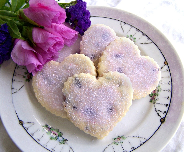 Romantically, sweetly beautiful heart shaped Chocolate Lavender Shortbread