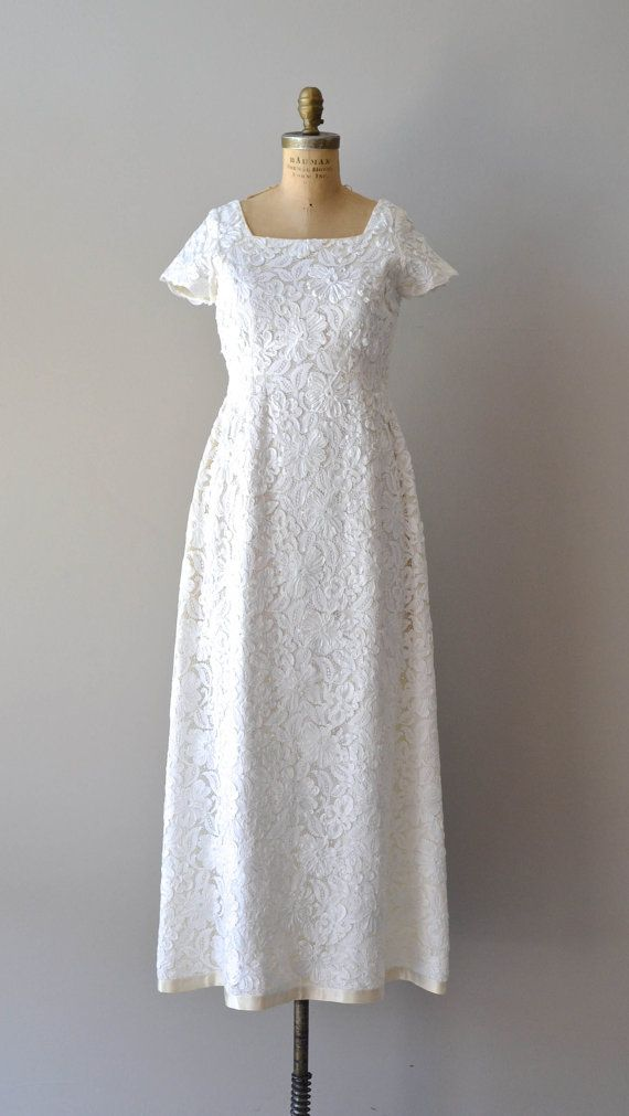 60s wedding dress / 1960s lace dress / Thing of Beauty gown