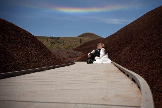 a rainbow cloud during pre-wedding photos!? amazing.