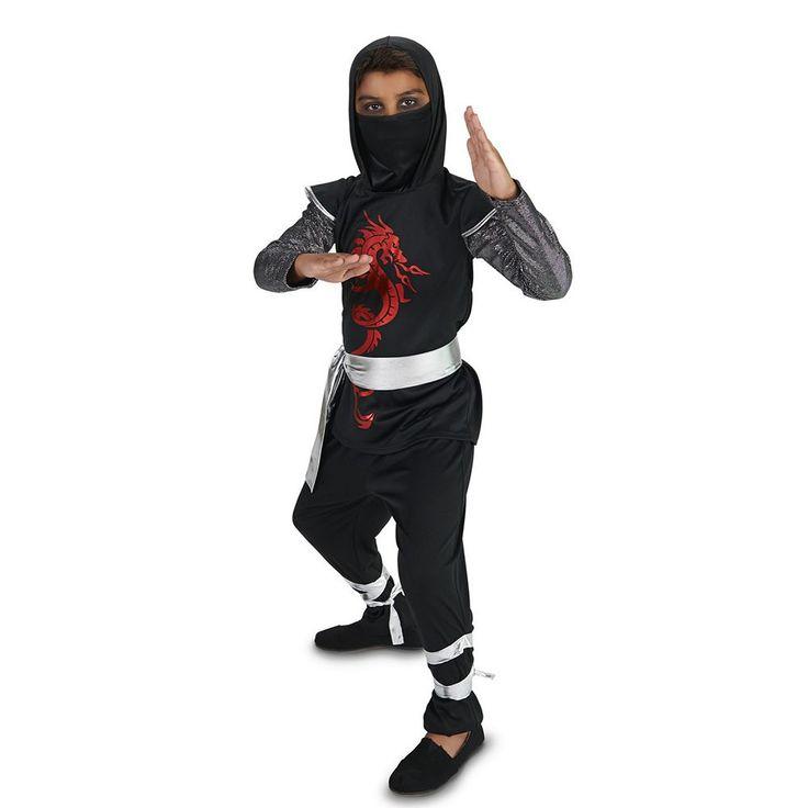 Kids Dark Dragon Ninja Costume, Boy's, Size: 12-14, Multicolor