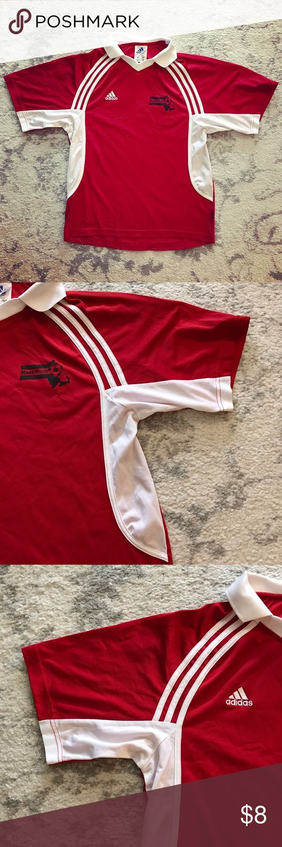 Red & white Adidas Mass Youth Soccer jersey Red and white Adidas ClimaLite collared athletic sports jersey. The shirt is an Adult size M (unisex). The jersey is red with white sides along the torso and three white stripes on each side of the chest coming from the collar. The Adidas logo is stitched on the jersey in white on the right chest, while the left chest has the logo for the Massachusetts Youth Soccer Association in black. The number 24 is on black on the back. In excellent condition…