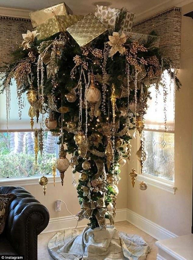 Something A Bit Different The Upside Down Trees Have Much More Room At The Top Meanin Upside Down Christmas Tree Creative Christmas Trees Wall Christmas Tree