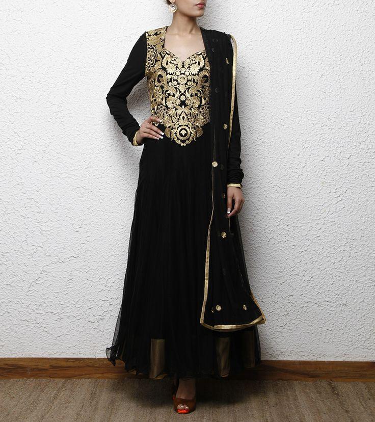 Black Net & Cotton Anarkali Suit