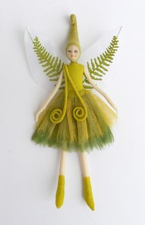 NZ Green Koru Fern Fairy Doll
