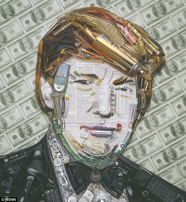 You're rubbish: Business tycoon Donald Trump has also had his portrait done which is on a backdrop of $100 bills and his famous comb-over hair is styled from an aerosol can, feathers, a tube of toothpaste  and a hair roller