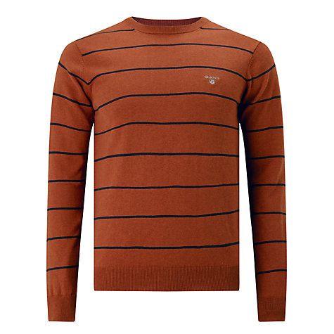 Buy Gant Cotton Wool Breton Jumper, Rust Online at johnlewis.com