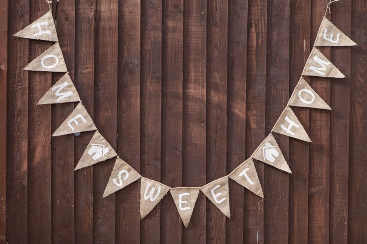 HOME SWEET HOME Bunting - Vintage Handmade New Home / House Warming Decoration Burlap / Hessian Bunting by MadeByMeAndMum on Etsy