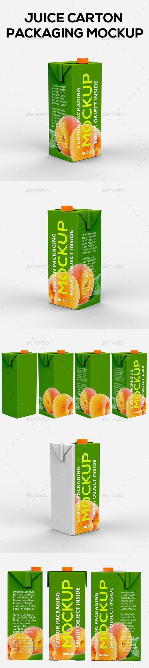 Juice Carton Packaging #Mockup - Food and Drink #Packaging Download here: https://graphicriver.net/item/juice-carton-packaging-mockup/20068183?ref=alena994