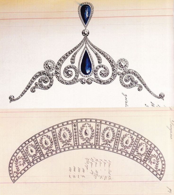 Designs dos livros de registro de workmaster jóias chefe da Fabergé, Holmstrom.  Top - safira e tiara de diamantes com pedras cabochão em forma de gota.  Abaixo - a céu aberto de diamante set kokoshnik dispostos em Louis XVI gosto com friso graduada de louro ...
