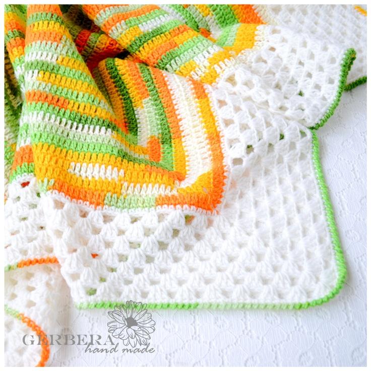 Crochet Baby Blanket / Orange Baby Afghan by GerberaHandmade. Love these colors!