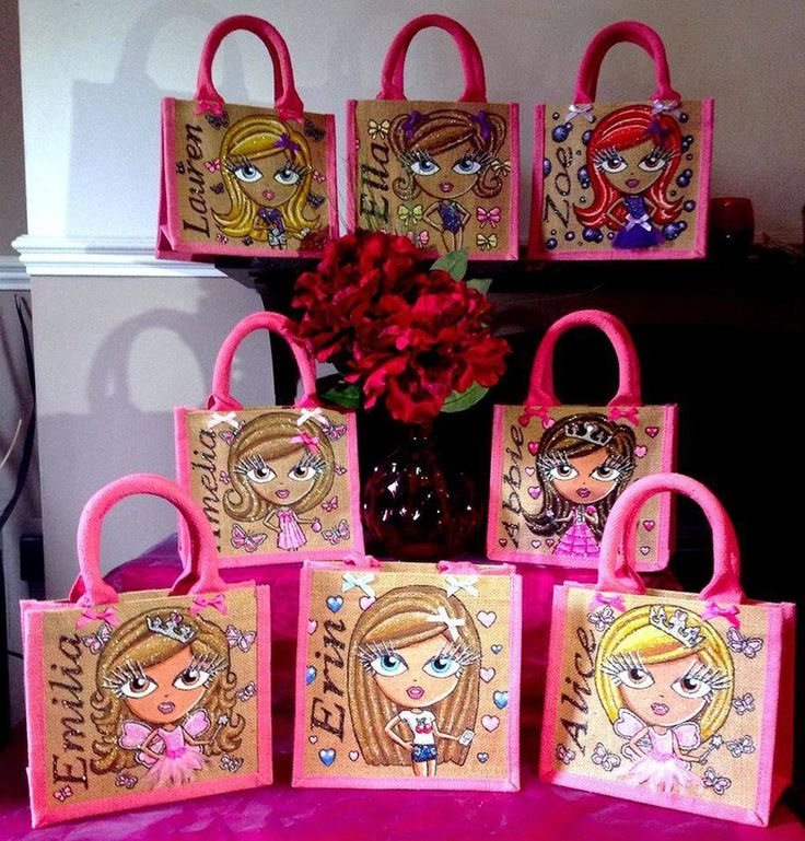 Glitterglamz Mini Jute Bags Personalised Hand Painted custom Special Gift Bag