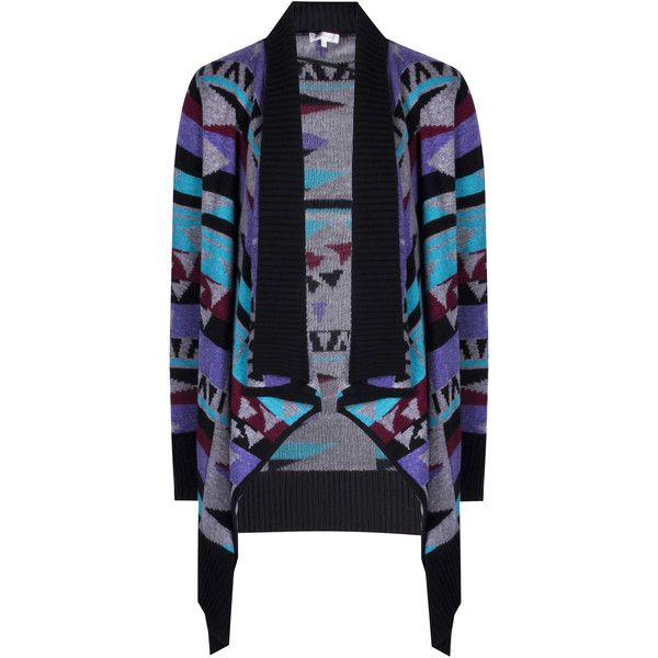 Multicoloured Aztec Waterfall Knitted Cardigan ($23) ❤ liked on Polyvore featuring tops, cardigans, multi, blue cardigan, multi color cardigan, aztec top, colorful cardigans and colorful aztec cardigan