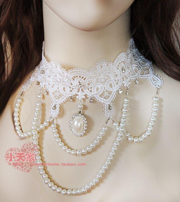 Малый небо белое кружево высококлассные невесты свадебный банкет суд многослойное ожерелье жемчужное ожерелье алмазов - Taobao