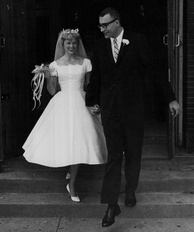 Sporting A Mini-wedding Dress In 1968