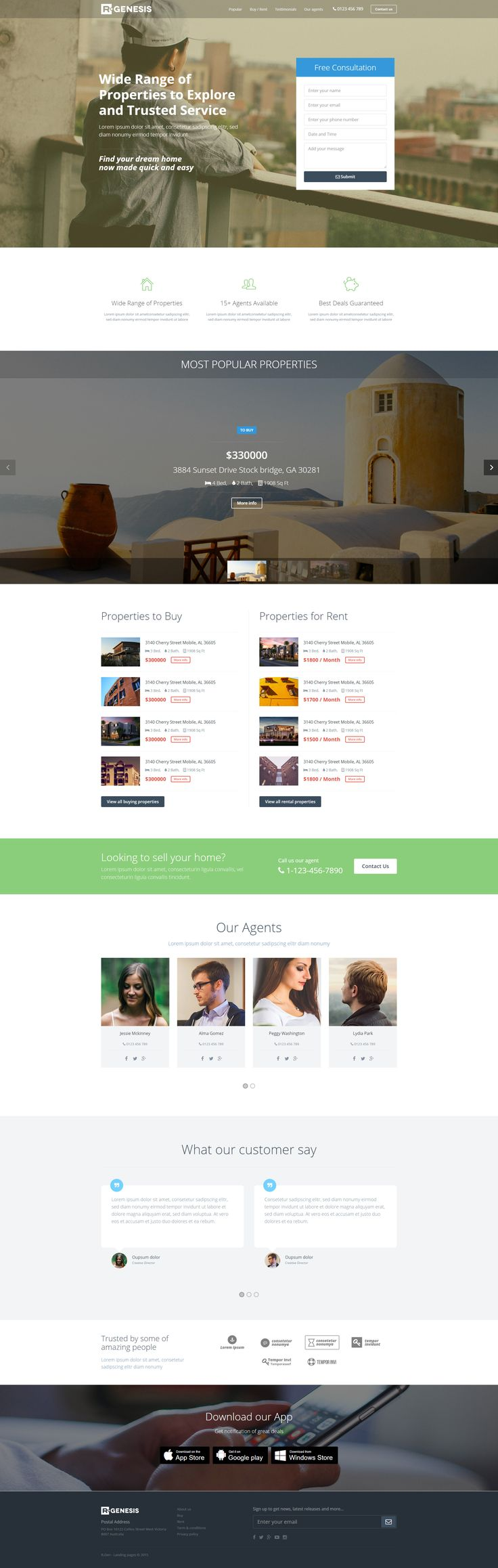 Real estate landing page template with page builder