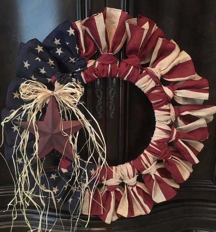 "Primitive Antiqued American Flag Bandana Wreath America Patriotic Military 22"" #Primitive #Handmade"