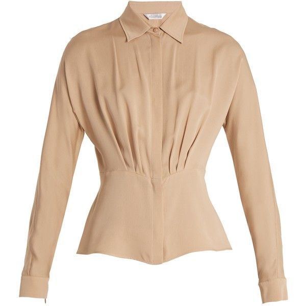 Max Mara Calle blouse ($675) ❤ liked on Polyvore featuring tops, blouses, camel, beige blouse, camel blouse, camel top, tailoring blouse and maxmara