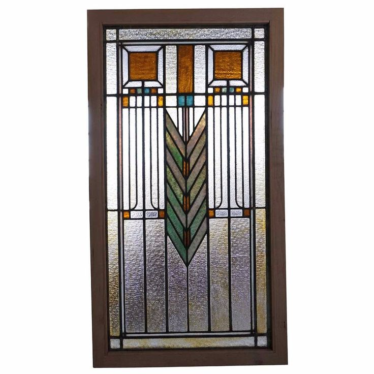 Antique American Prairie School Stained and Leaded Glass Window