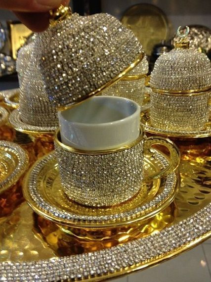Bringing out the special tea set for the holidays.