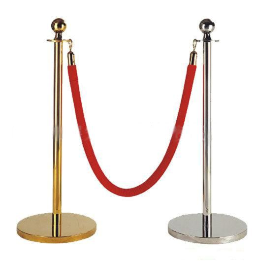 Chrome-Stanchion-with-Red-Velvet-Rope