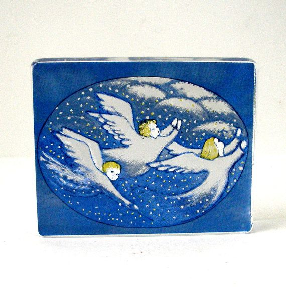 Iittala Paperweight Card Three Angels Reverse Fused Glass Designed by Heljä Liukko-Sundström Hand Made In Finland Vintage Mint Condition