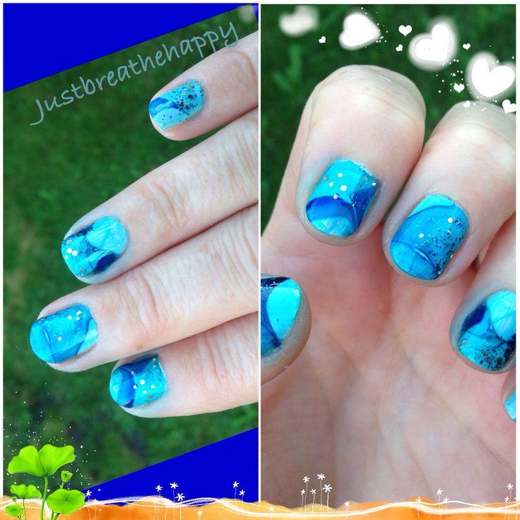 Nagels marmeren (ook mijn korte nageltjes houden van kleur)