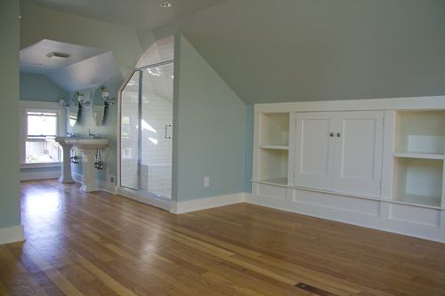 Attic Built Ins And Bathroom Love The Wood Color And