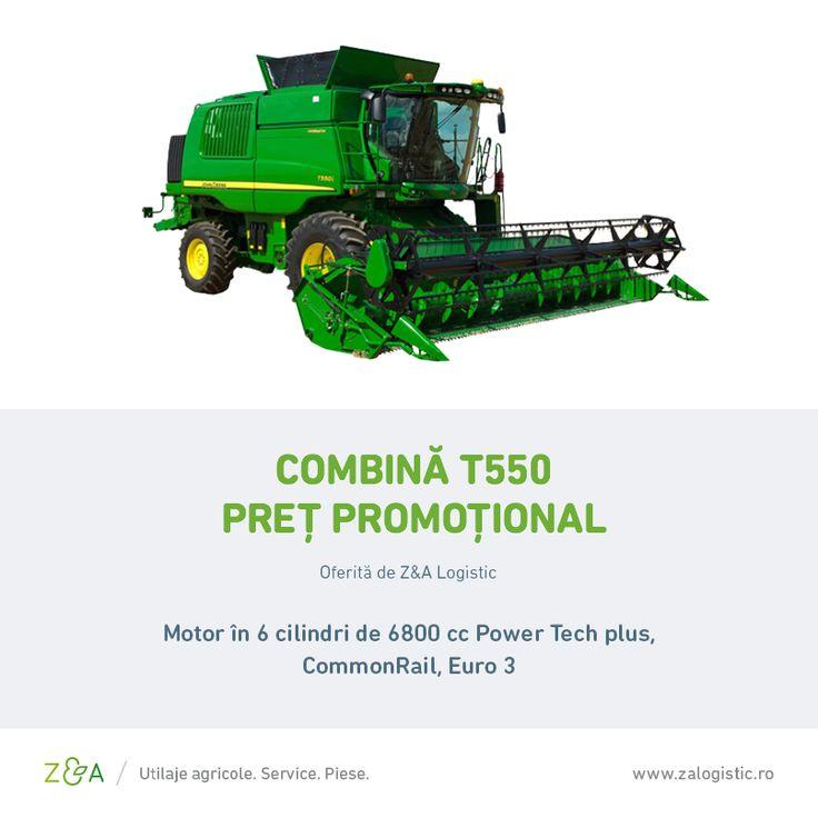 Profită de ocazie și achiziționează o combină T550 la un preț special! Combina are o putere de 271 CPi și este prevăzută cu bară de cereale de 7,6 metri.