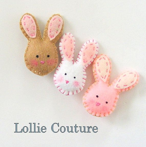 Little Bunny Brooch felt kids jewelry felt by lolliecouture, $8.50