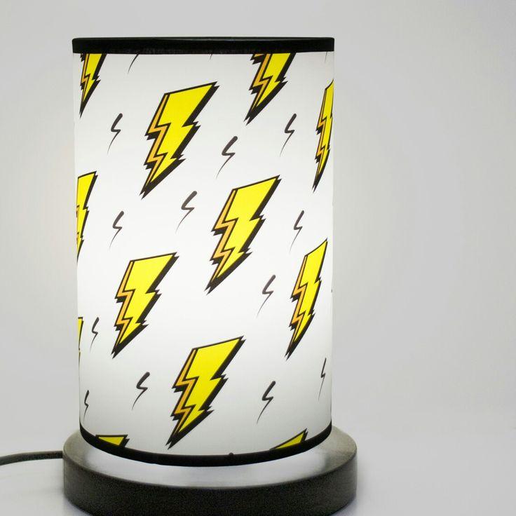 Standing lamp Lightning #fotolampy #photolamps #lightning #lamp #lampshade #modern #design #own #project #idea #light #base #yellow #rain #storm #illustration #kids
