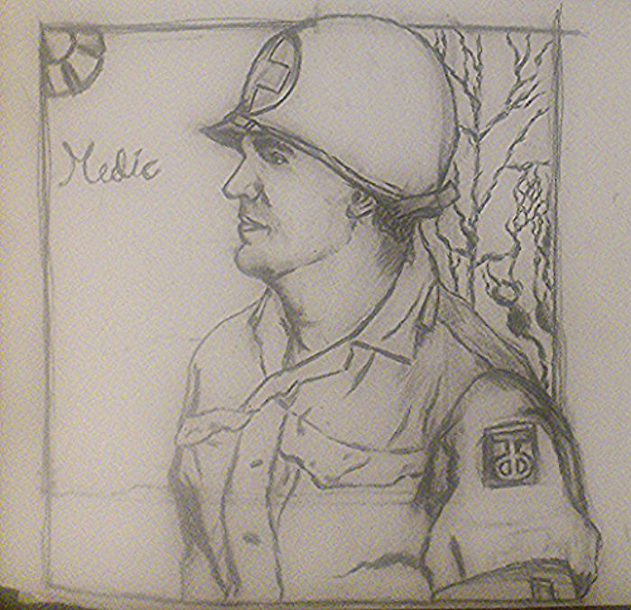 """Combat medic with the insignia of the Texas-Oklahoma division, also nicknamed the """"Tough 'Ombres."""""""