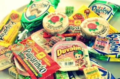 Mexican candy stash- party favors. Reminds me of Japanese candy some friends gave my daughter.